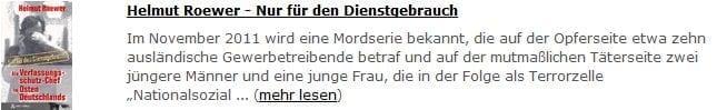 Helmut Roewer - Nur für den Dienstgebrauch
