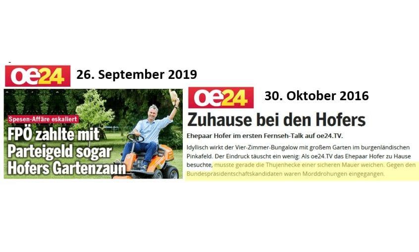 """Schmutzkübel kurz vor Wahl: """"oe24""""-Schmuddeljournalismus um Hofer-Gartenzaun"""