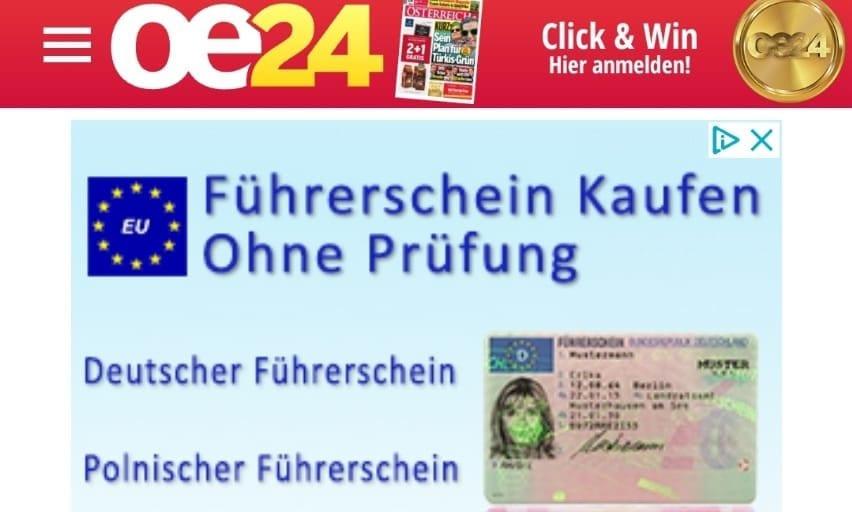 """Fellner-Blatt """"oe24"""" wirbt für """"Führerscheinkauf ohne Prüfung"""""""