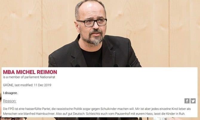 Michel Reimon und sein Hassposting