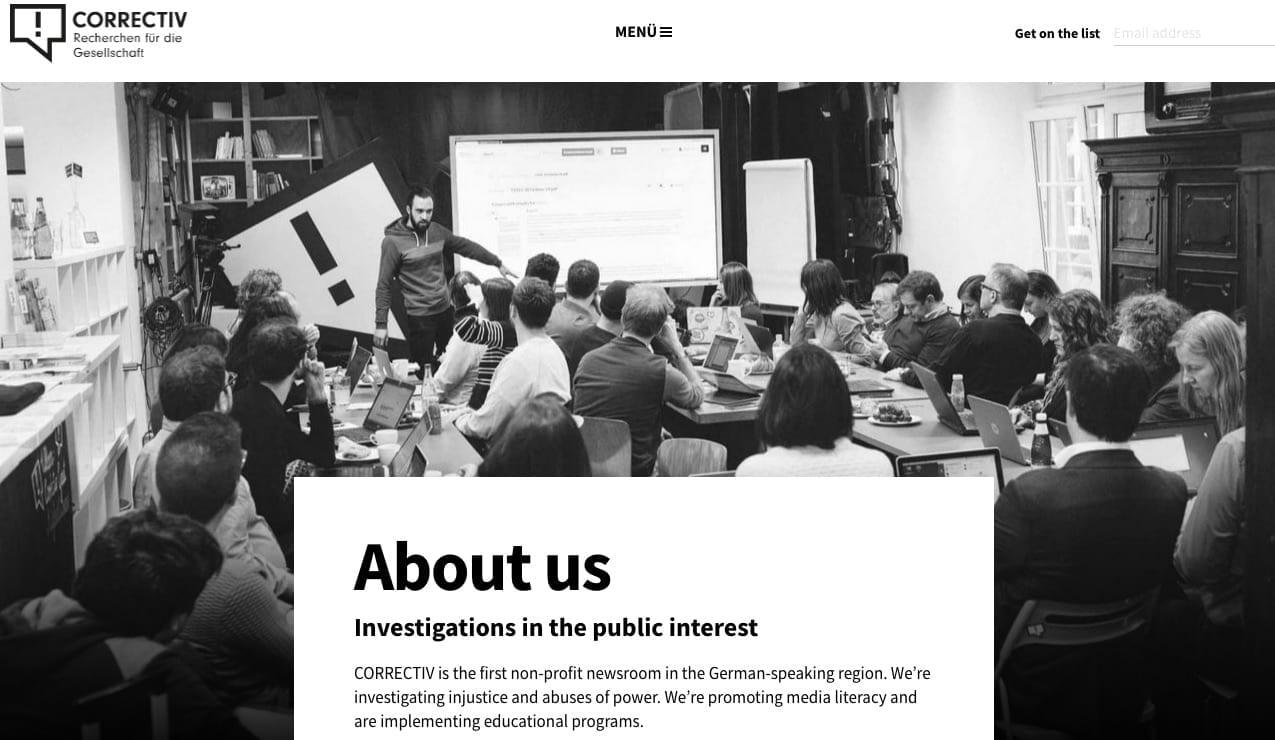 Screenshot / Correctiv-Homepage