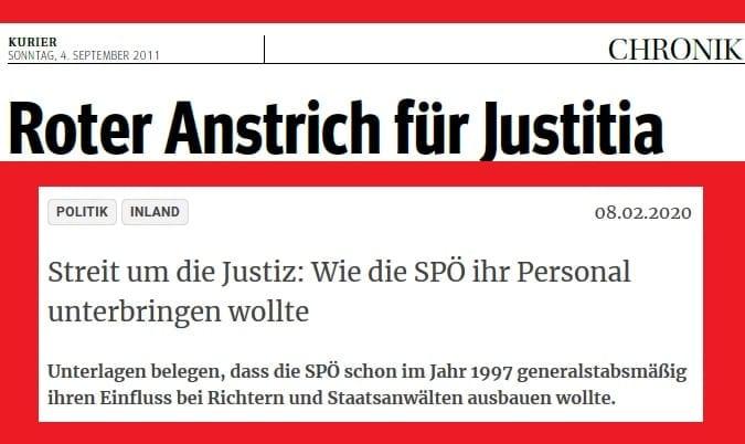 Kurier-Schlagzeilen 2011 bzw. 2020