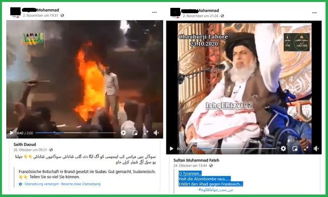 Screenshots Postings gegen Frankreich