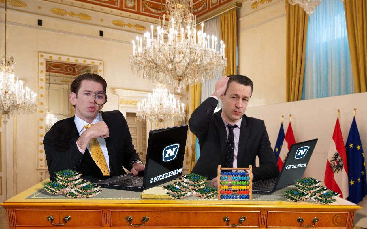 Kurz und Blümel mit Laptops