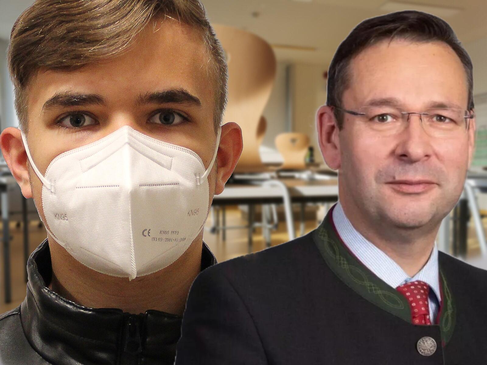 Hermann Brückl und Schüler mit Maske