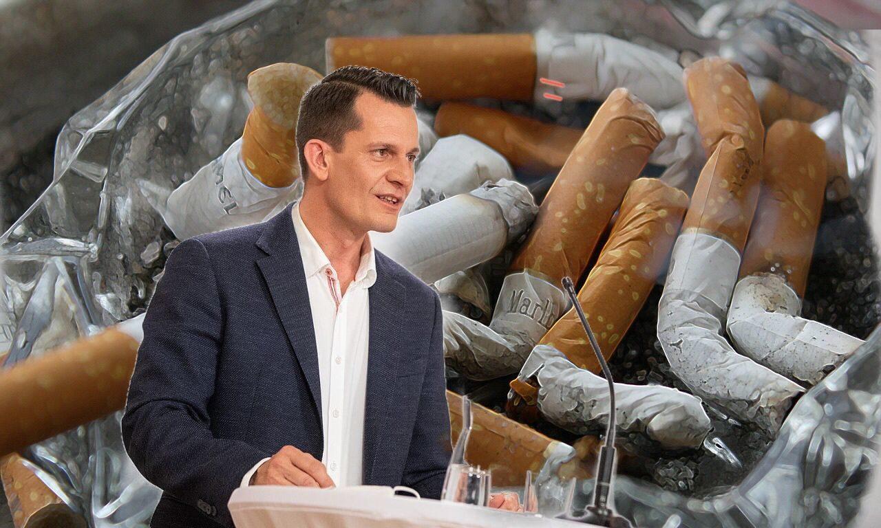 Mückstein und Zigaretten